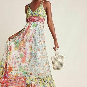 New Anthropologie Malibu Floral Maxi Dress $220 si